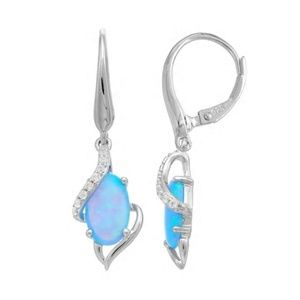 Sterling Silver LabCreated Opal-Sapphire Earrings